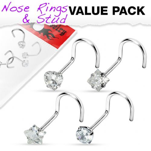 4 Pack of Assorted Shape Clear Gem Nose Screws